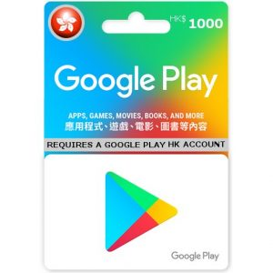 GOOGLE PLAY CARD (HKD 1000 / for HK accounts only)
