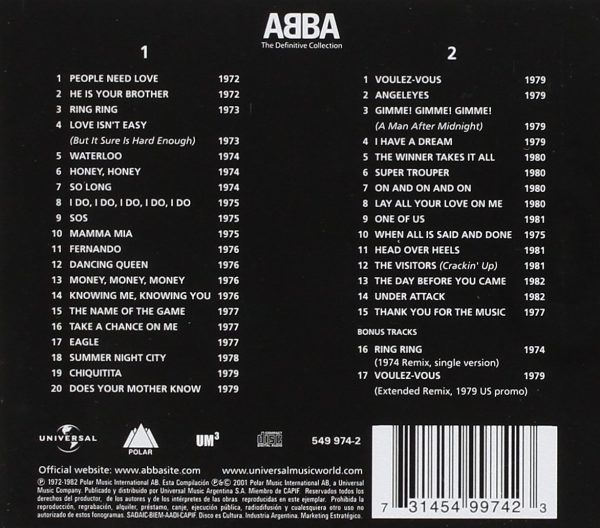 ABBA - The Definitive Collection track list