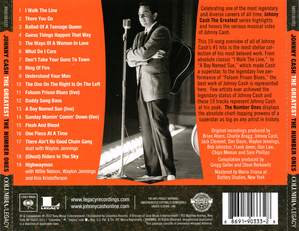 Johnny Cash - The Greatest: The Number Ones track list