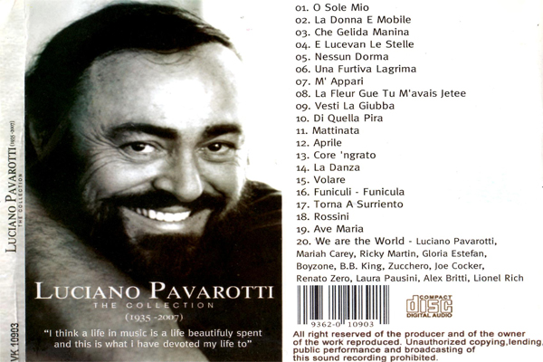 Luciano Pavarotti - The Collection (1935-2007) back