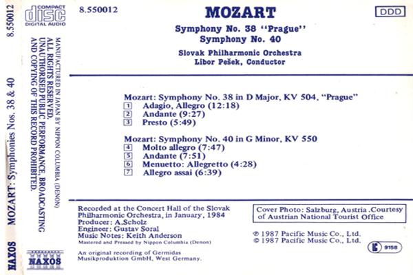 Mozart, Slovak Philharmonic Orchestra, Libor Pešek – Symphonies Nos. 38 & 40 back