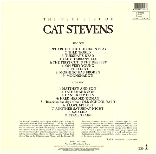 The Very Best Of Cat Stevens track list