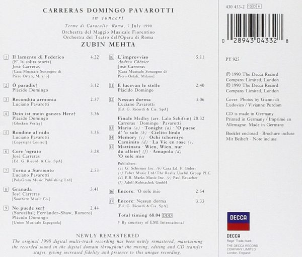 Carreras · Domingo · Pavarotti: The Three Tenors in Concert back